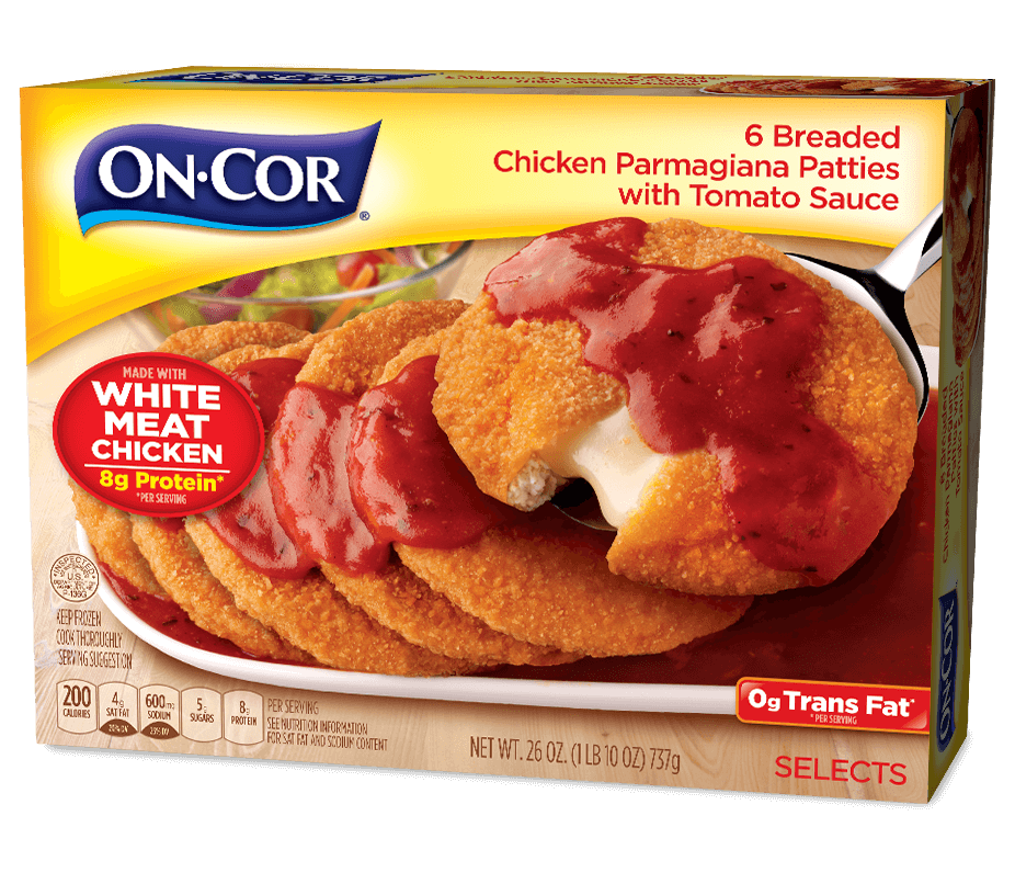 6 Breaded Chicken Parmagiana Patties with Tomato Sauce