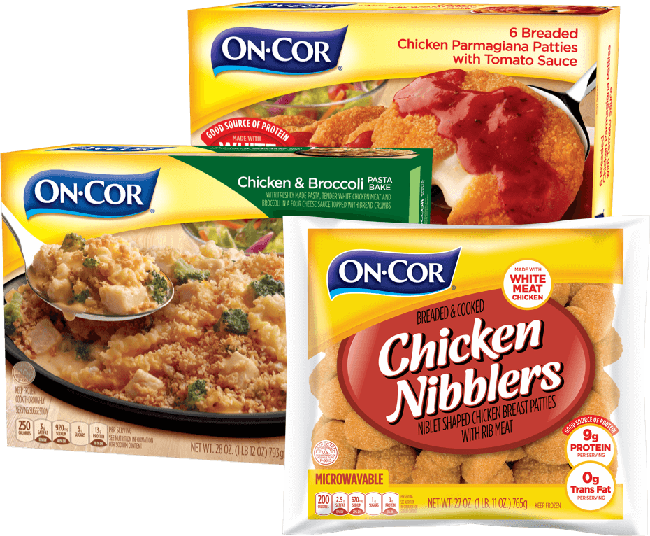 image of On Cor packaging for chicken nibblers, chicken parmigiana and chicken pasta bake