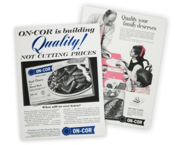 images of advertisements for On Cor from the nineteen forties.